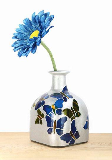 Hand Painted Gl Patron Bottle Cobalt Blue Green Silver Erflies Minimal Home Decor Decorative Art 130 00 Via Etsy