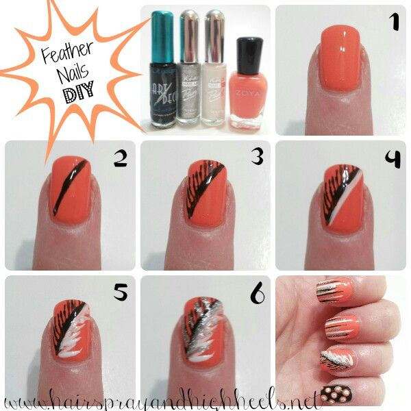 Feather nails Feather nails, Diy nails, Fancy nails
