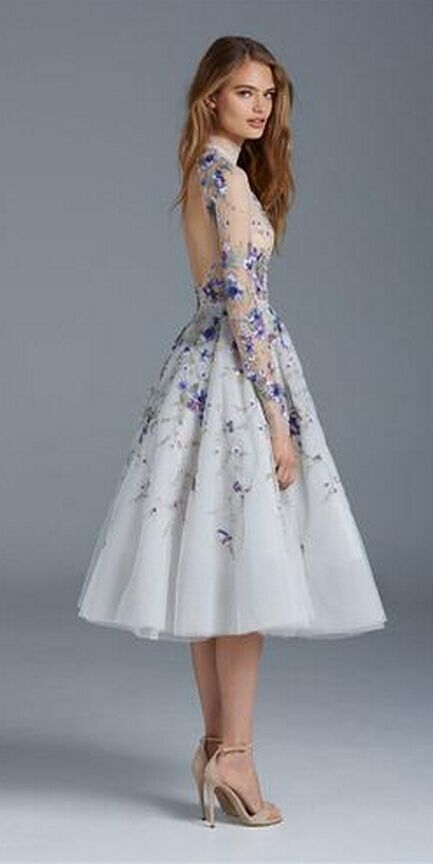 Prom dresses long sleeves flower embroidery tea length for Silver tea length wedding dresses