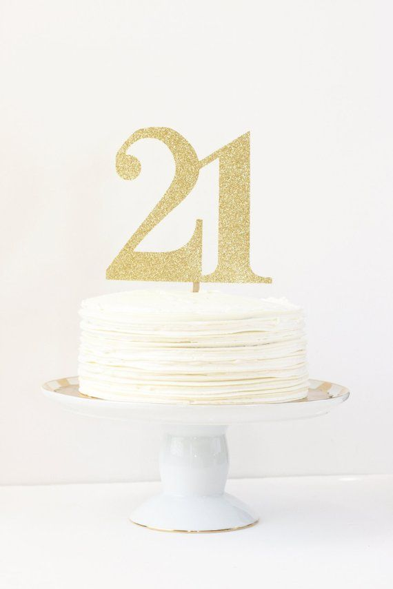21st Birthday Cake Topper Gold Party Decorations Number Age Glitter Supplies