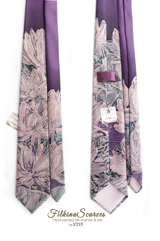 Ooak Purple Floral Paint Silk Tie Hand Painted Lilac Men S Batik Necktie With Lilies Wedding Gift For Groom Dad Groomsman Unique Silk Ties Purple Floral Wedding Gifts For Groom