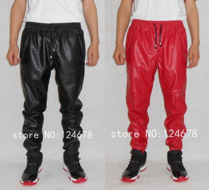 I love it. Fashion leather sweatpants men hip hop faux ...