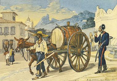 """Figura dos """"aguadeiros"""", comum no Brasil Colonial, é retratada na exposição. Ilustração de Jean-Baptiste Debret - Fundação Energia e Saneamento"""