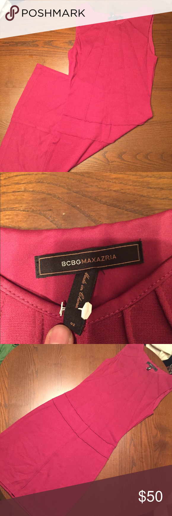 BCBG MAXAZRIA red stretch dress Red stretch dress, comes to about knees. Perfect condition, only ever dry cleaned. BCBGMaxAzria Dresses Midi