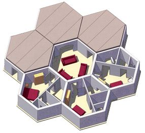 Beehive shelter systems honeycomb pod system sheds for Honeycomb house floor plan
