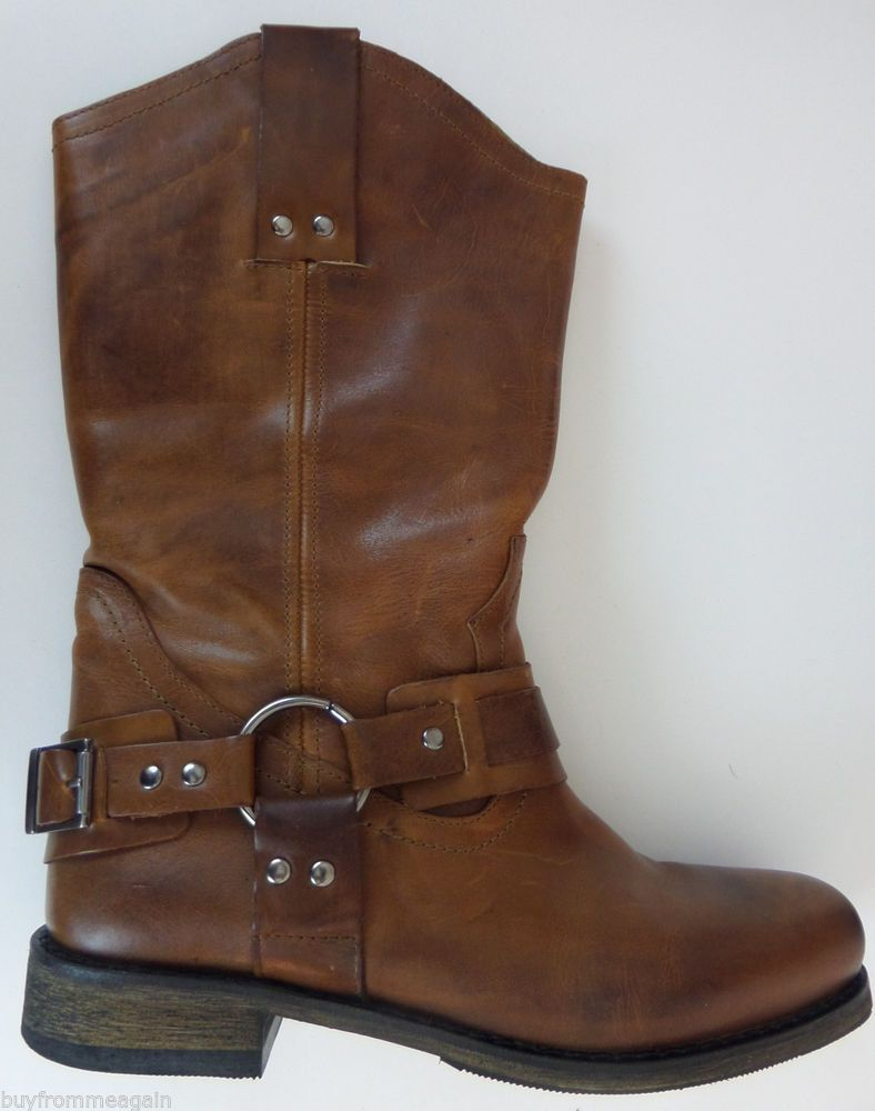 Eddie Bauer Bronx Leather Boots Brown Women Cowboy 39 8 US Portugal  #EddieBauer #CowboyWestern