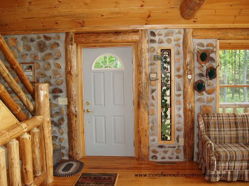 Modern House Design With Cordwood Walls And Log Posts. Green Technology For  Eco Homes Construction