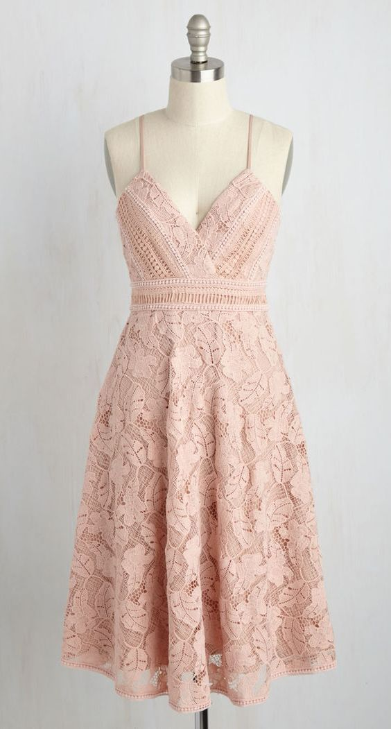 5fac364137f882 A-Line Spaghetti Straps Knee-Length Pink Sleeveless Lace Homecoming ...
