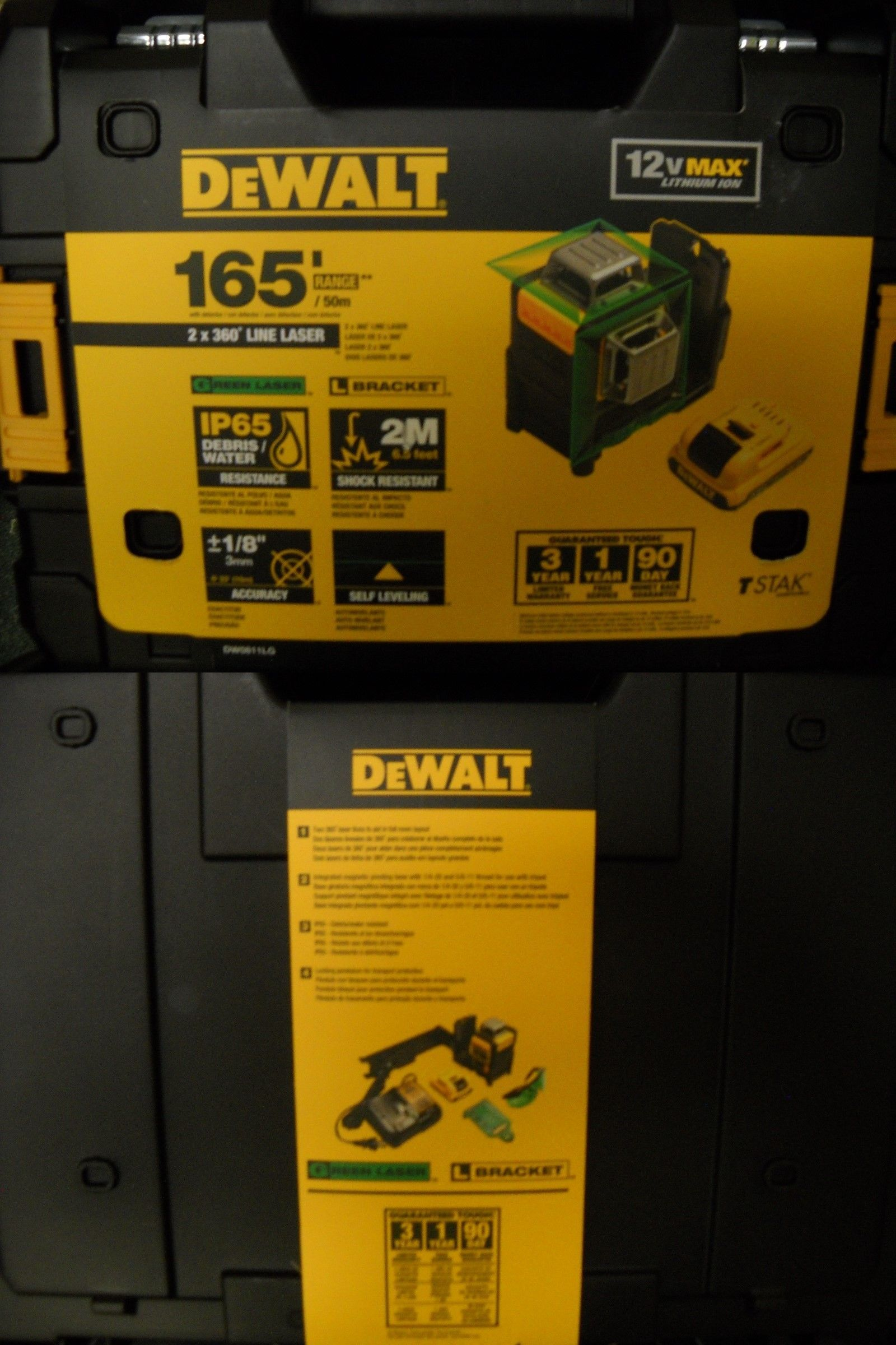 Dewalt Dw0811lg 12v Max 2 X 360 Green Beam Line Laser Kit W Bat And Charger New Dewalt Measuring Tools Beams