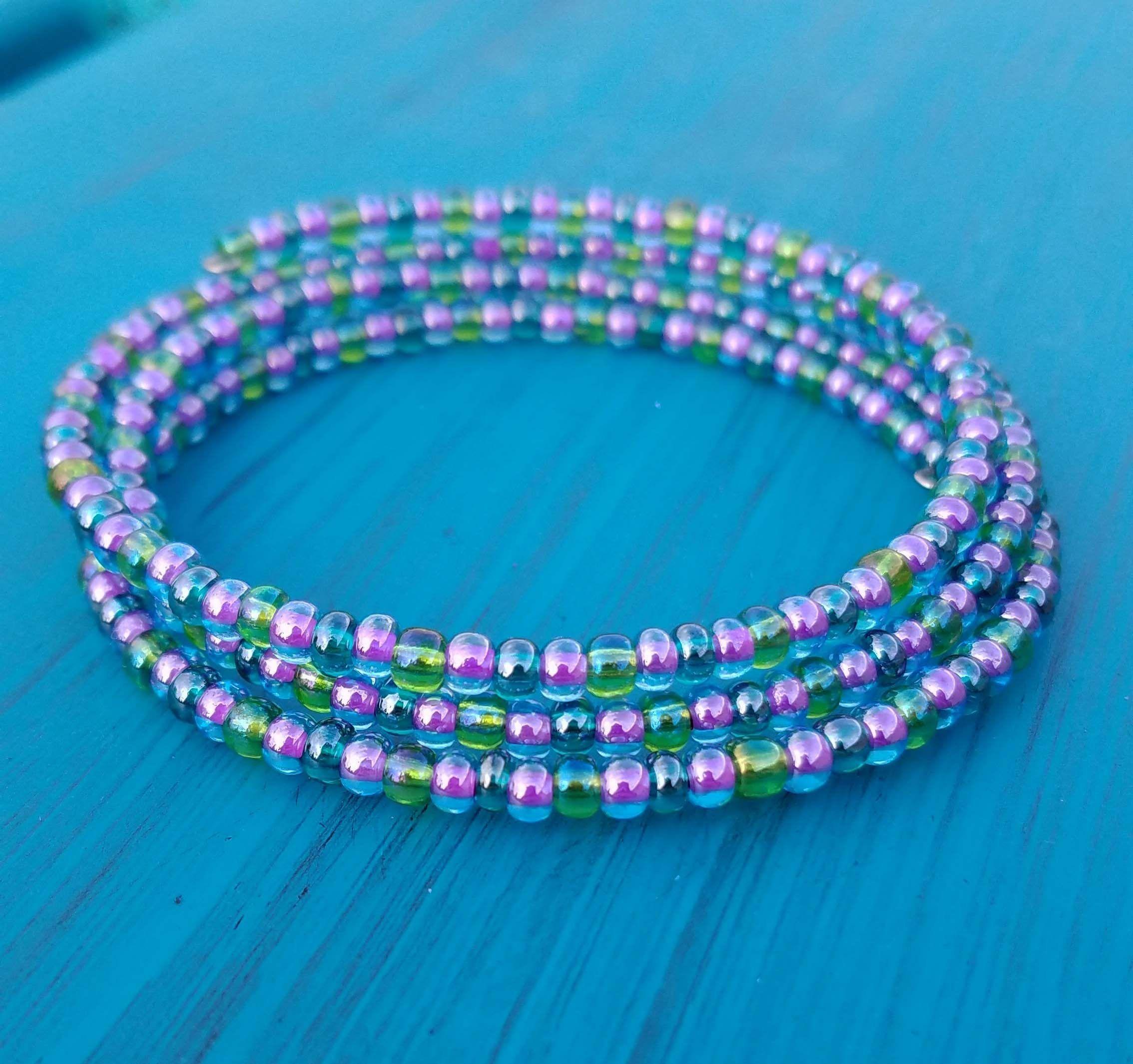 Teal, Purple, and Green Memory Wire Bracelet / Mermaid Bracelet