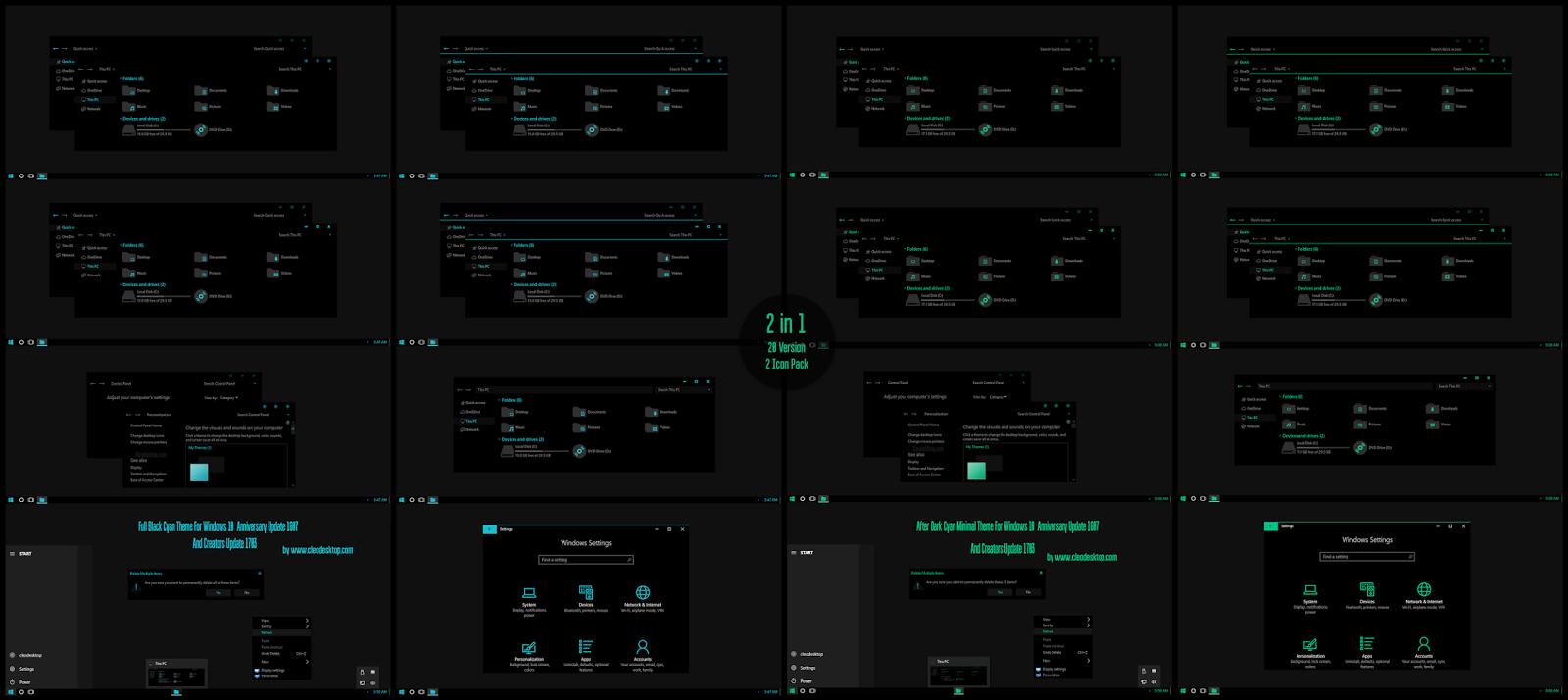 Windows10 Themes I Cleodesktop: Full Black Cyan and Green