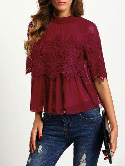 Chiffon Bluse mit Häkelspitze - burgund rot | clothes | Pinterest ...