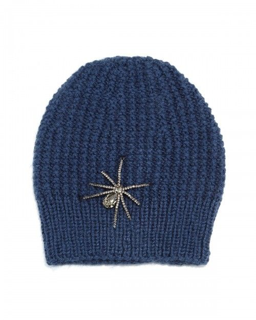 083aa00515709 Jennifer Behr Crystal Spider Knit Beanie Hat Navy