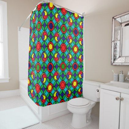 Fun Red Green and Blue Stained Glass Pattern Shower Curtain - shower