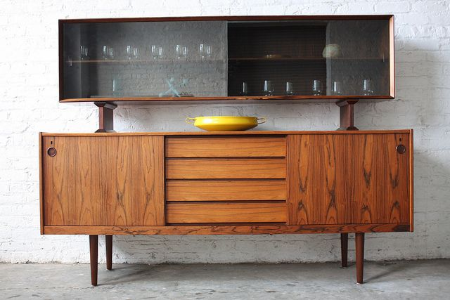 Danish Credenza Hutch : Undeniable dyrlund roswood danish mid century modern credenza with