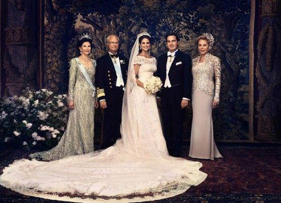 The happy newlyweds and their parents, from left to right: Queen Silvia of Sweden, King Carl XVI Gustaf of Sweden, Princess Madeleine, Chris O'Neill and mother of the groom, Eva O'Neill.
