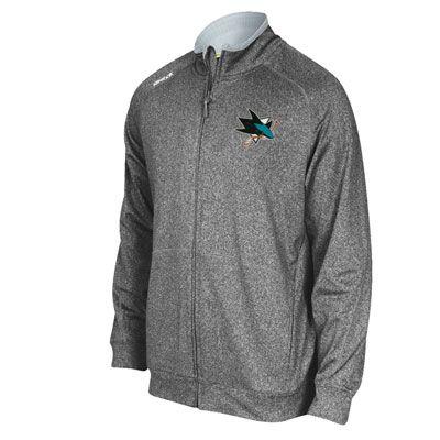 San Jose Sharks Grey Reebok Center Ice Track Jacket  a36bfb752