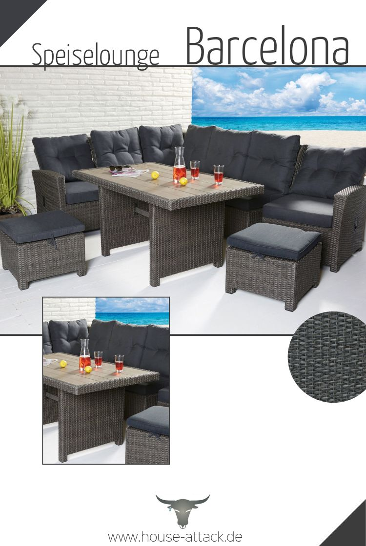 Loungeecke Polyrattan Lc Garden Dininglounge Speiselounge 7 Tlg Barcelona Grau Mix In