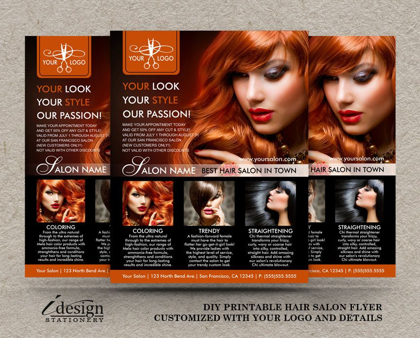 Hair Salon Flyer  Printable Hair Stylist Or Hairdresser Flyers