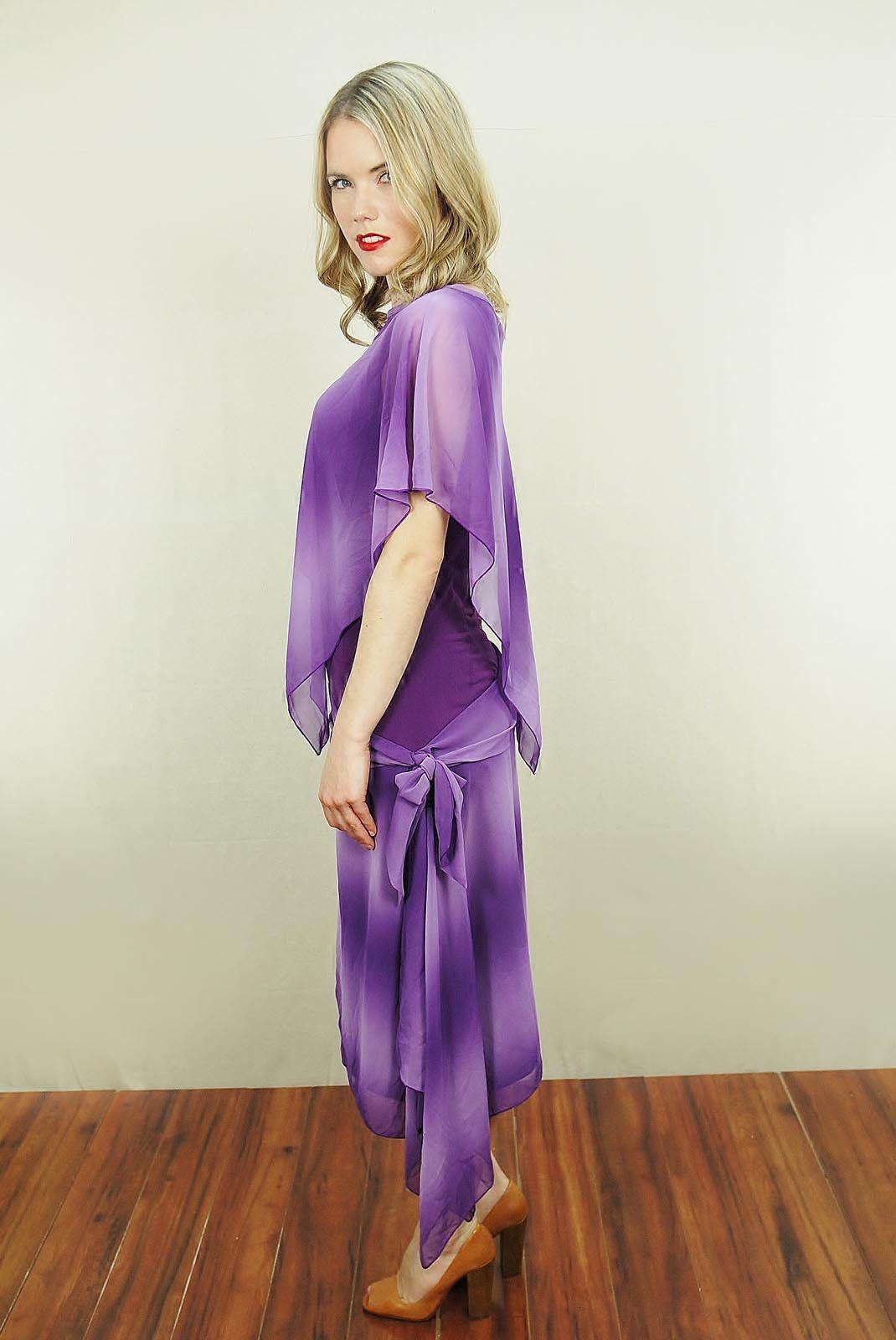 Vtg s purple lavender tiedye draped chiffon cape boho asymetric