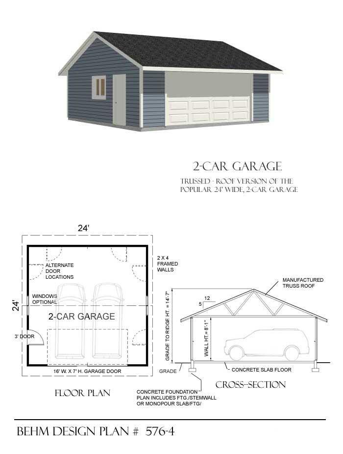 Garage Plan # 576-4 Garage plans Pinterest Garage plans, Barn - new blueprint for 3 car garage