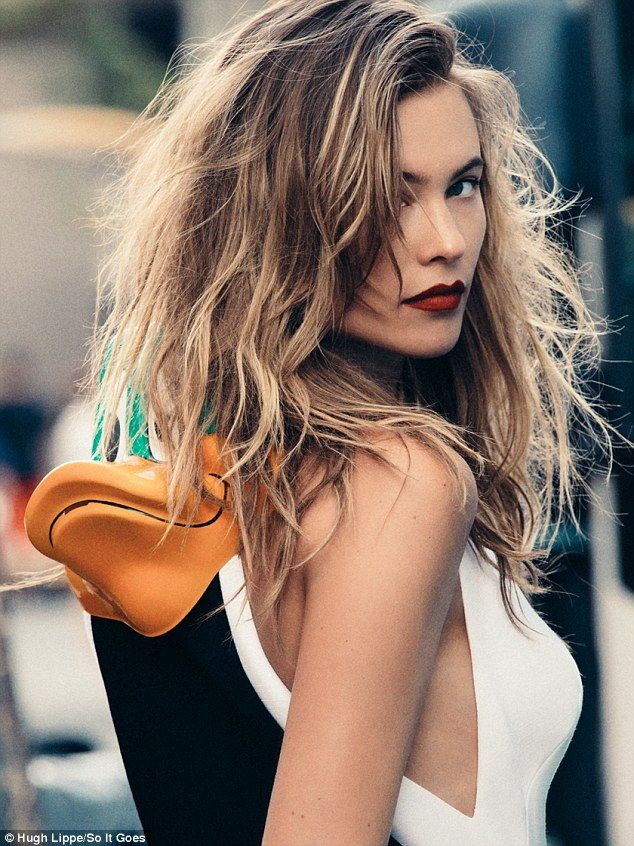 Without her wings: Victoria's Secret beauty Behati Prinsloo is pictured in a new fashion e...