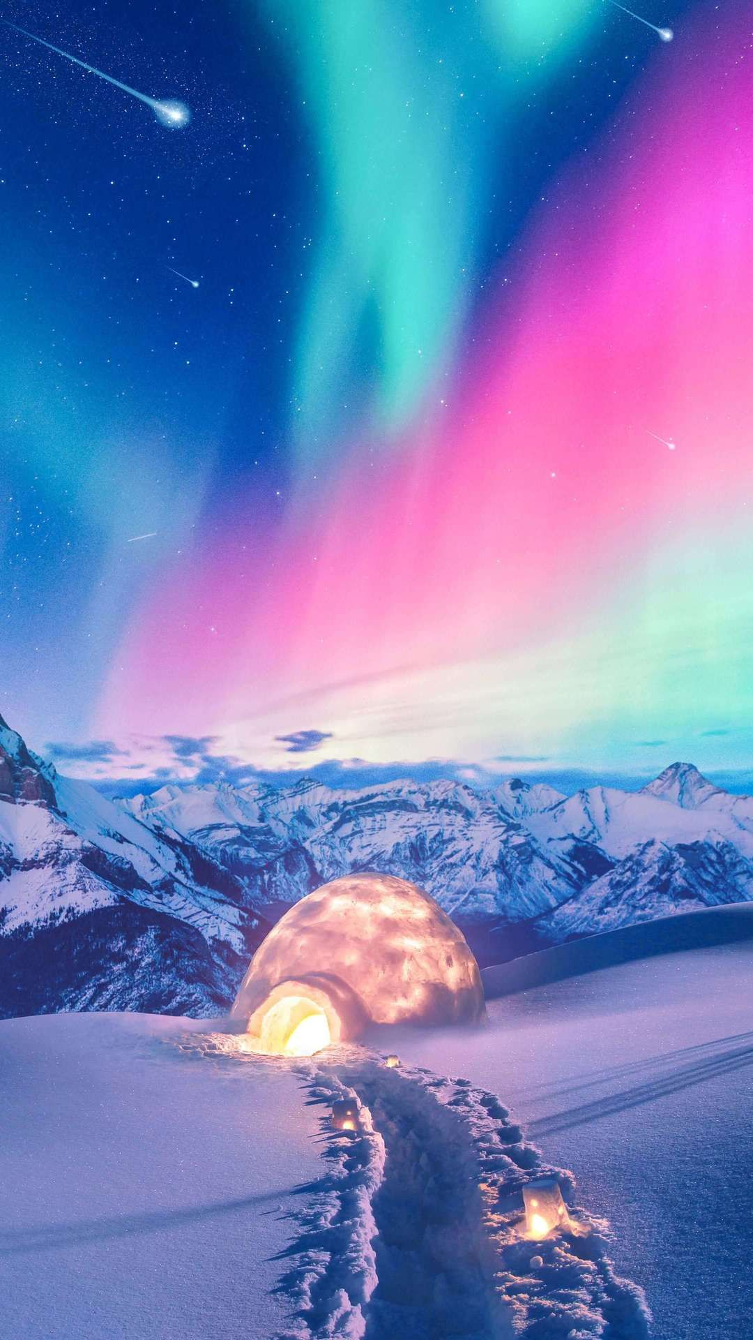 Snow Winter Iceland Aurora Northern Lights In 1080x1920