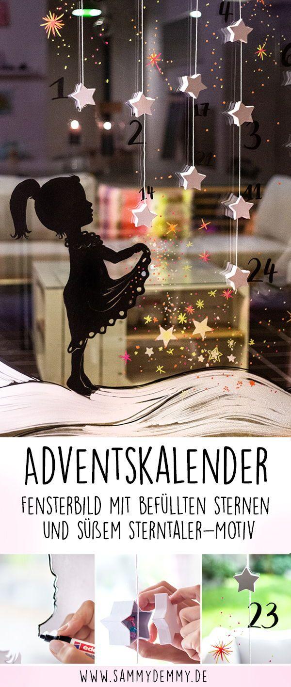 Adventskalender mit Sterntaler-Motiv als Fensterbild #adventskranzideenkinder