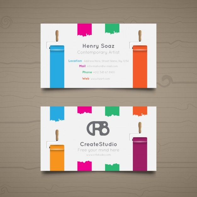 Art Studios Business Cards Graphic Design My Vector Free Carte