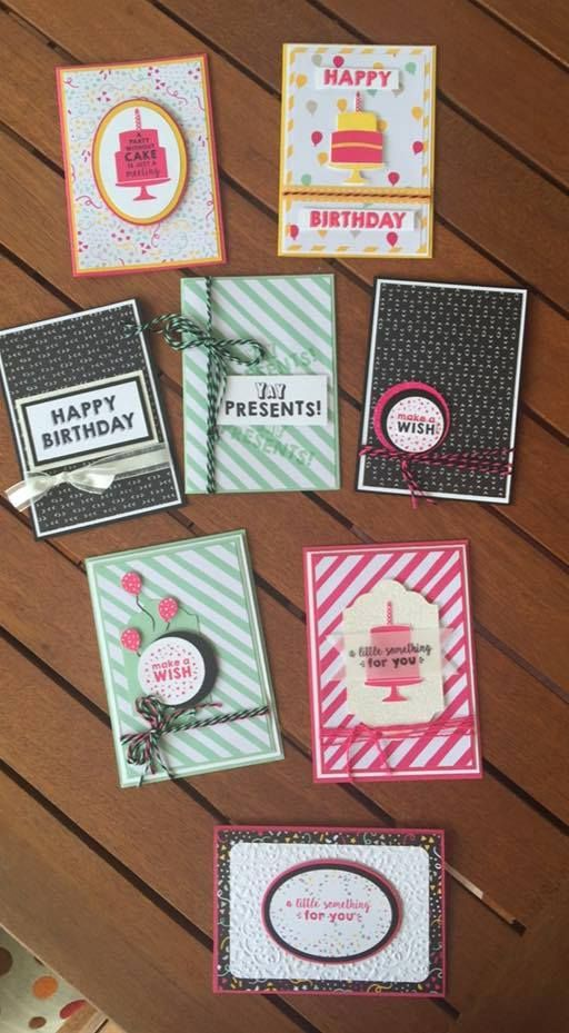 quick  easy cards using party wishes bundle  stampin up