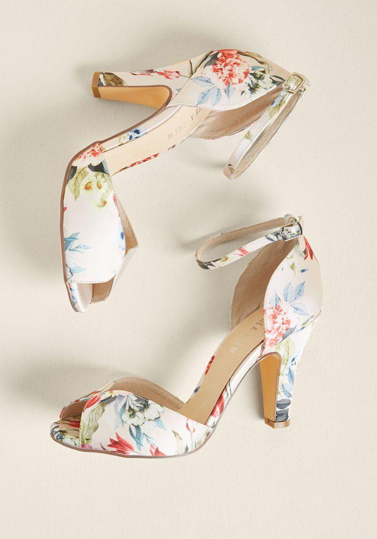 Peep Toe Heel in Blush Floral