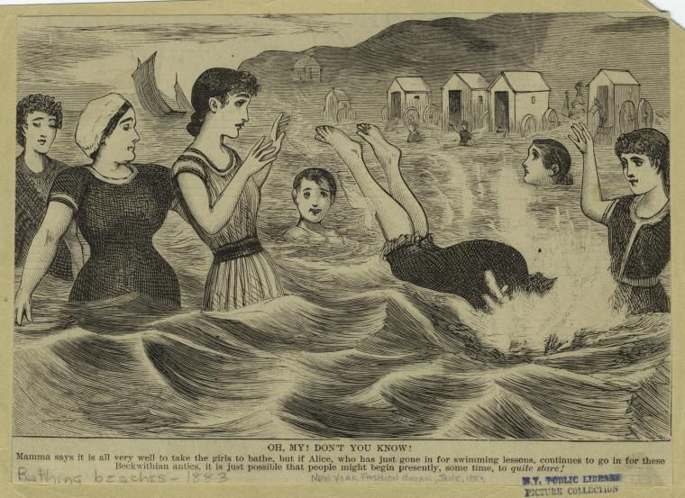 """Mamma says it is all very well to take the girls to bathe, but if Alice, who has just gone in for swimming lessons, continues to go in for these Beckwithian antics, it is just possible that people might begin presently, some time, to quite stare!."" Written on border: ""New York Fashion Bazar, June, 1883.    Beckwithian refers to Agnes Beckwith, ""The Greatest Lady Swimmer in the World"" who gave swimming exhibitions in the 1880s"