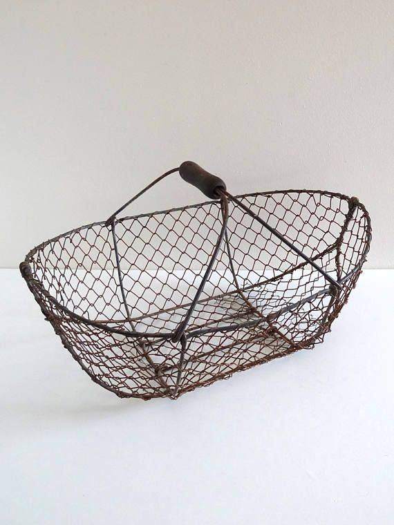 Etsy - French Antique Chicken Wire Basket - Vintage Metal Garden ...