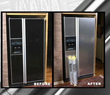 Appliance Art Instant Stainless Roll Fridge And Dishwasher Cover Refrigerator Makeover Stainless Steel Paint Stainless Steel Kitchen