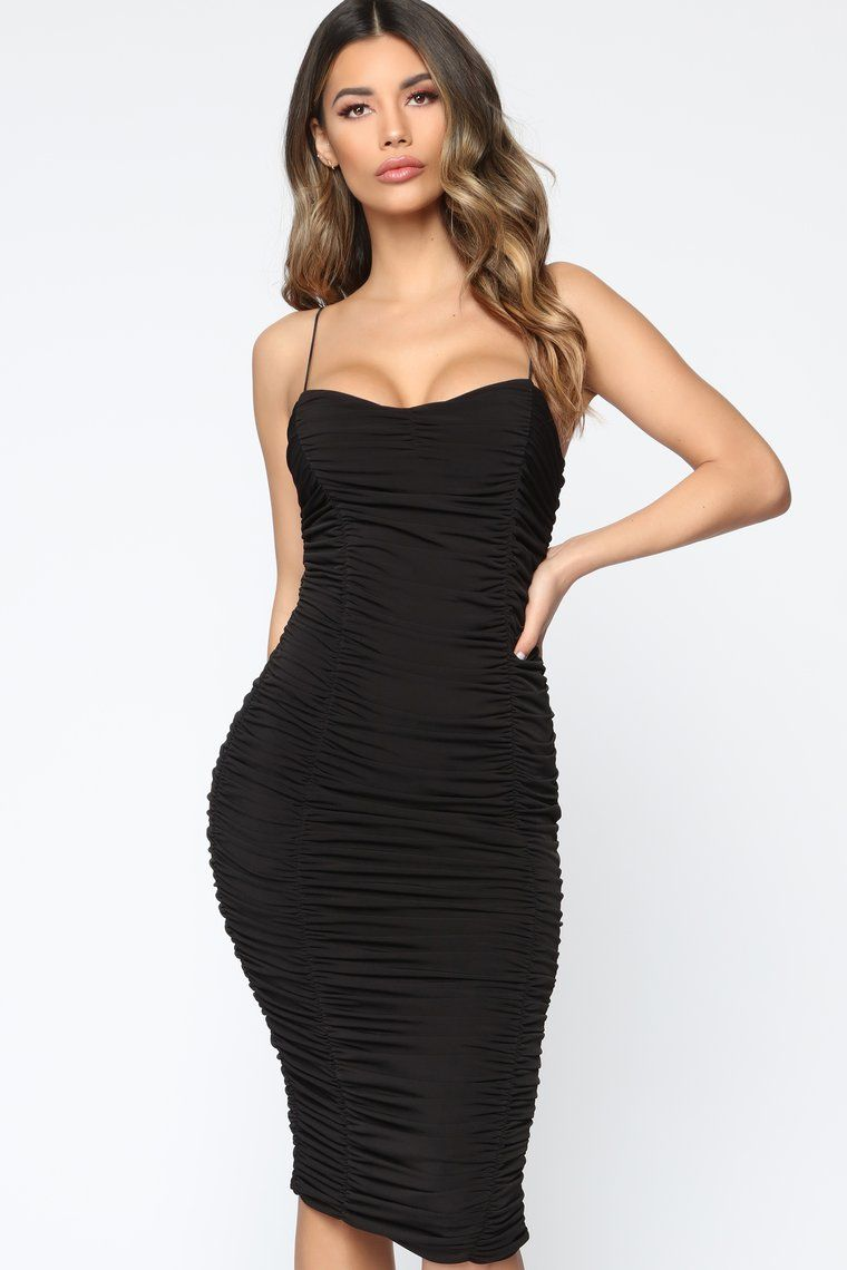 Perfect Figure Ruched Midi Dress Black Black Midi Dress Ruched Midi Dress Dresses [ 1140 x 760 Pixel ]