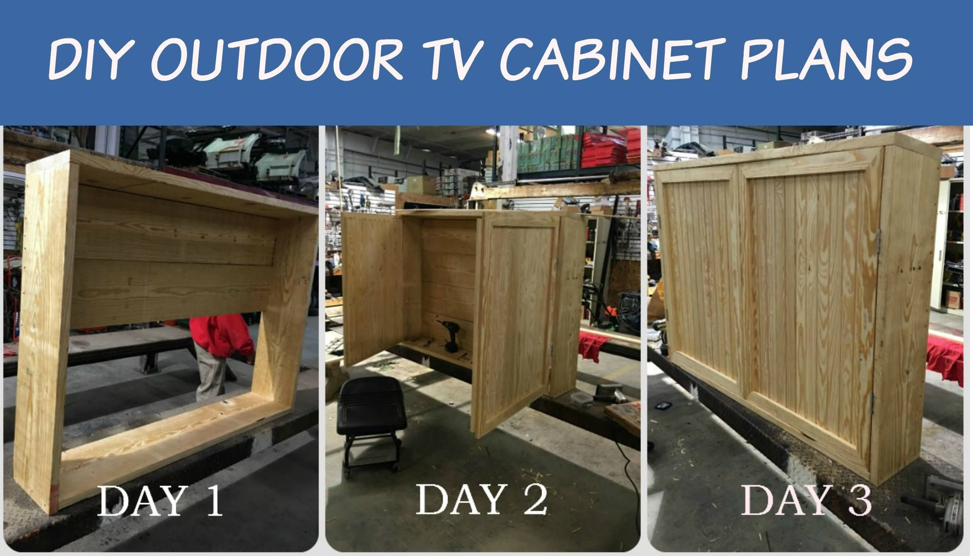 This Diy Er Is Ready To Put The Finishing Touches On His Outdoor Tv Cabinet It Typically Takes 3 Days Complete With These Able Easy Follow
