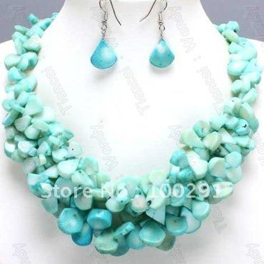 Handmake Blue African Wedding Bridal Orang Coral Jewelry Set Coral Necklace Bracelet Earring Set $50.47