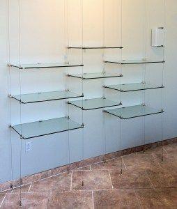 suspended cable shelves for ventana medical systems tea shop rh pinterest com Glass Kitchen Shelves long glass floating shelves