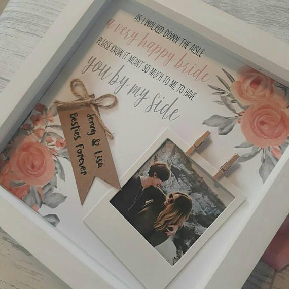 This handmade frame is the perfect gift for your bridesmaids, to say thankyou! Youre the best, thanks for being there! It can also be adapted for Maid of honour, chief bridesmaid and flower girls. Your own details can be added to this frame to make a truly personalised gift. For