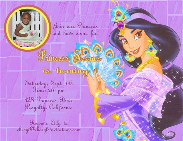 Princess Jasmine Birthday Invitation Santhosh kumar – Princess Jasmine Birthday Invitations