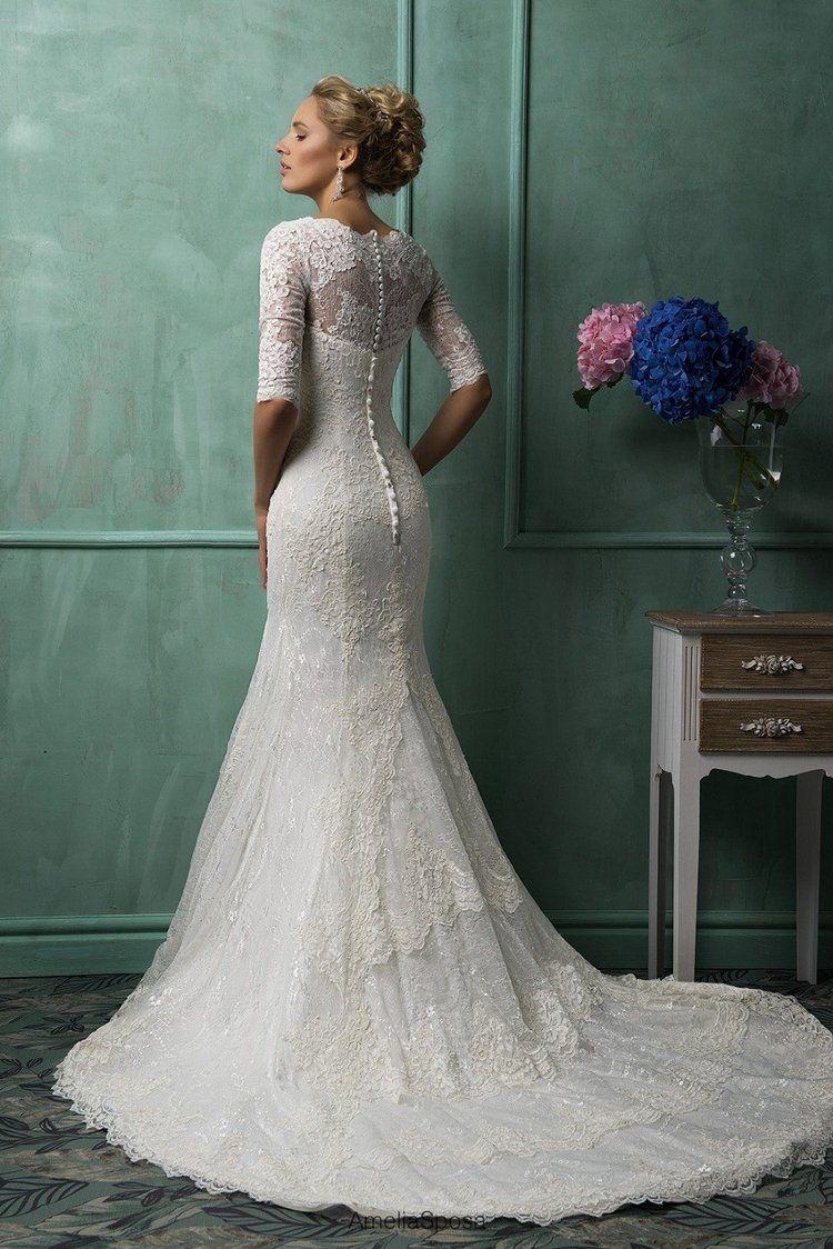 f9eb618682 Amelia Sposa New Arrival Half Sleeve V neck Wedding Dresses