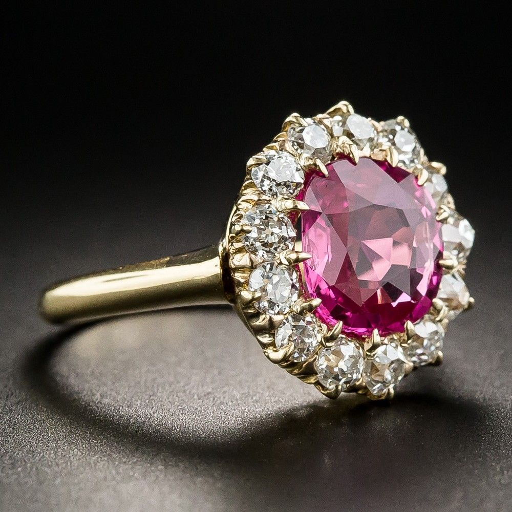 Antique No Heat Pink Sapphire Diamond Halo Ring What S New Pink Sapphire Ring Engagement Blue Diamond Engagement Ring Rose Gold Diamond Ring Engagement