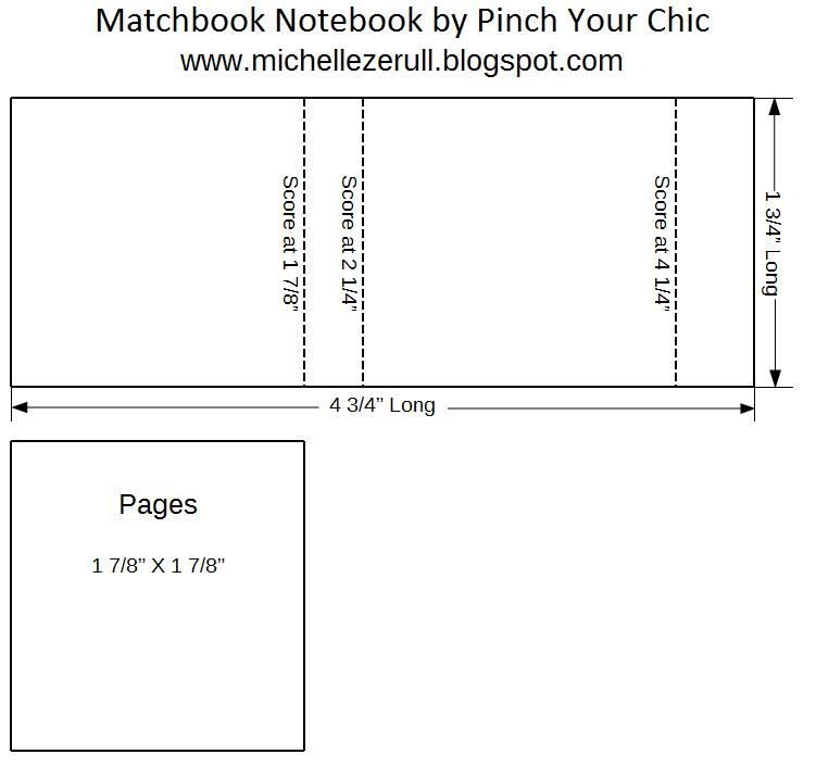 Pinch Your Chic Winter Matchbook book binding Tutorial with PDF - manual templates