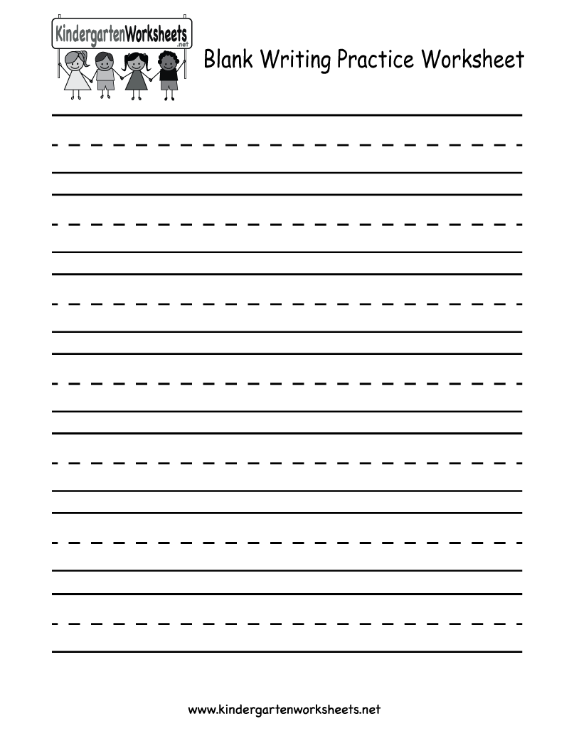 Kindergarten Blank Writing Practice Worksheet Printable ...
