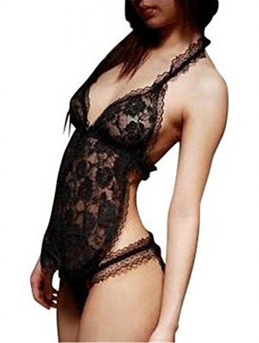Alivila.Y Fashion Sexy Enticing Top and Crotchless Panty Set 805-Black-One Size Alivila.Y Fashion Lingerie