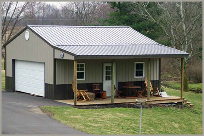 Pole barn garage with porch building photos garages for Metal garage plans