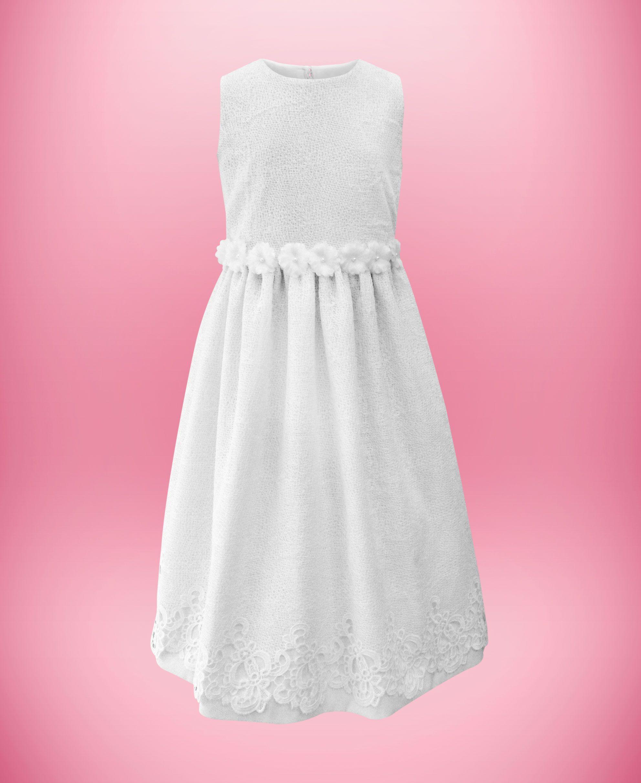 Vestido de algodão com elastano e renda de guipir em estilo rústico ...