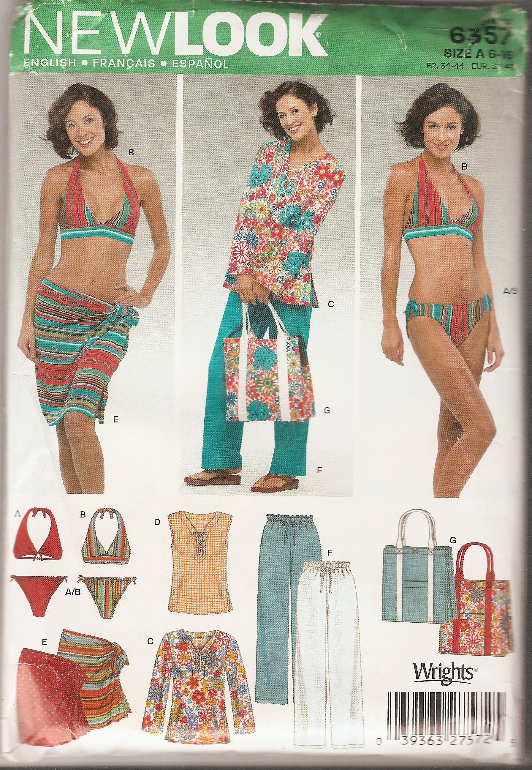 New Look Simplicity sewing pattern 6357 misses\' sizes 6-16 swimwear ...