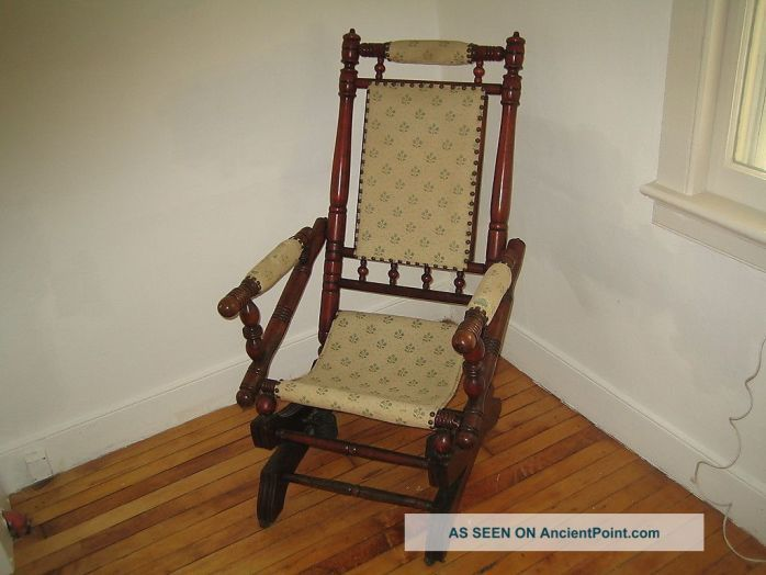 ada 10 antique vintage pedestal platform rocking chair spindle rocker - Ada 10 Antique Vintage Pedestal Platform Rocking Chair Spindle