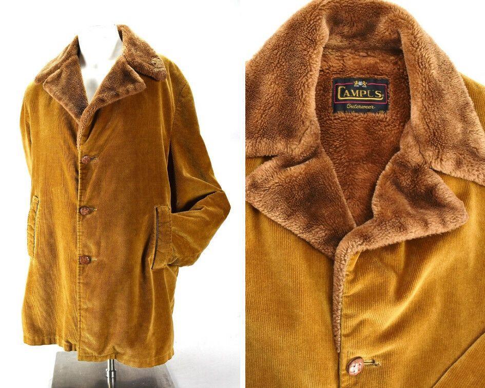 Mens Vintage Campus Outerwear Brown Corduroy Fleece Lined Car Coat
